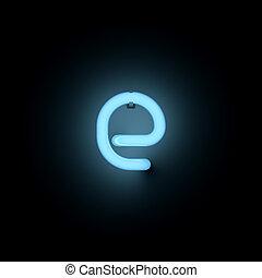 Letter e lower case blue neon alphabet collection