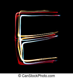 Letter E made from brightly coloured neon lights