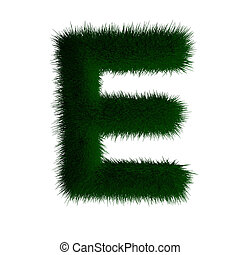 letter e made of grass