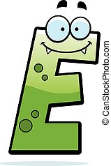 Letter E Monster - A cartoon illustration of a letter E ...