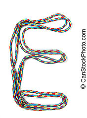 Letter e of cotton rope
