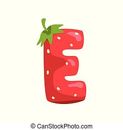 Letter E of English alphabet made from ripe fresh srawberry, bright red berry font vector Illustration on a white background