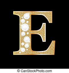 Letter E of gold and diamond