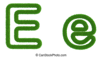 Letter E of green fresh grass isolated on a white background.