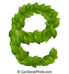 Letter E of green leaves alphabet