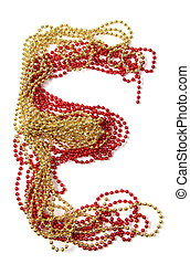 Letter e of red and gold beads