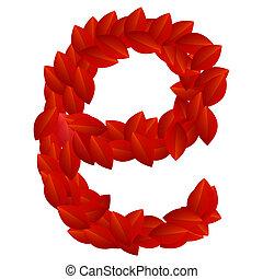 Letter E of red petals alphabet
