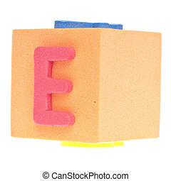 Letter E on Foam Block