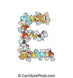 Letter E Rubbish. Trash font. garbage alphabet. Lettering litter