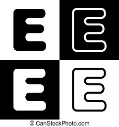 letter e sign design template element vector black and white icons and line icon
