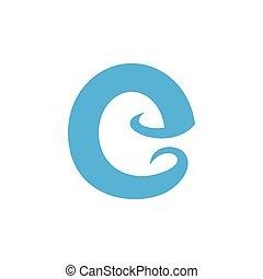 letter e simple geometric blue waves logo vector