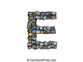 Letter E uppercase font shape alphabet collage made of my...