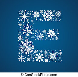 Letter E, vector font frosty snowflakes