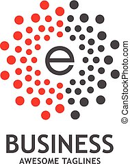 letter E with dotted vector circle frame
