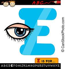 letter e with eye cartoon illustration