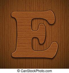 """Letter """"E"""". Wooden alphabet. Vector illustration."""
