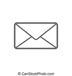 Letter email icon for user interface collection. Thin line letter email icon isolated on white. EPS 10