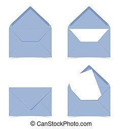 letter envelope in blue color illustration on white