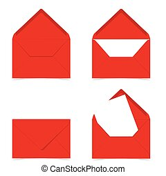 letter envelope in red color illustration on white