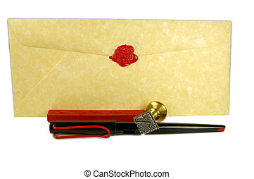 Letter - envelope with pen and wax