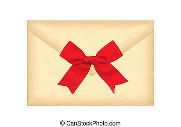 Letter envelope with red bow isolated on white
