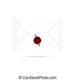 letter envelope with red seal wax illustration