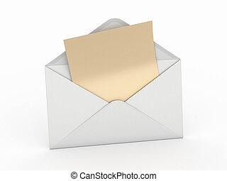 letter., enveloppe, vide, mail., 3d