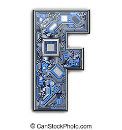 Letter F.  Alphabet in circuit board style. Digital hi-tech letter isolated on white.