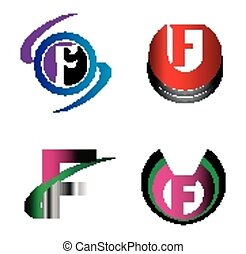 Letter F alphabet logo vector letter F icon set