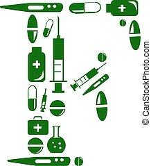 Letter F, alphabet of medicine pills