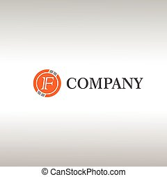 Letter F Alphabetic Logo Design Template, Crypto Curency Logo Concept, Gray, Orange, Ellipse, Rounded, Digital Coin, Virtual Money, Ecurrency