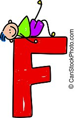 happy little boy lounging on a giant letter F - toddler art series