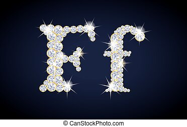"Letter ""F"" composed from diamonds with golden frame. Complete alphabet set."