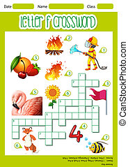 Letter F crossword worksheet illustration