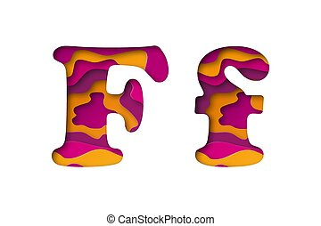 Letter F, cut out paper. Vector illustration.