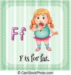 Flashcard letter F is for fat