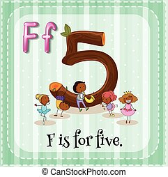 Flashcard letter F is for five