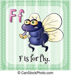 Flashcard letter F is for fly
