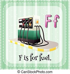 Flashcard letter F is for fuel