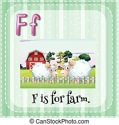 Letter F flashcard with picture of farm and sheep