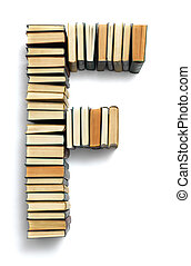 Letter F formed from the page ends of books - Letter F ...