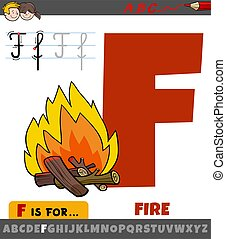 letter F from alphabet with cartoon fire