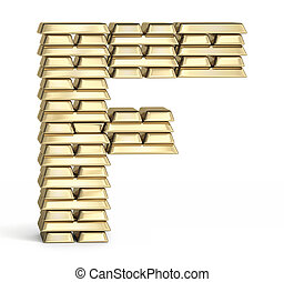 Letter F from gold bars