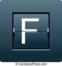 Letter F from mechanical scoreboard. Vector illustration
