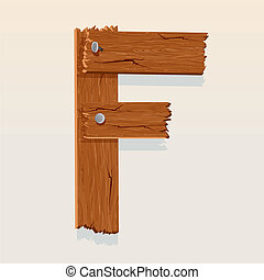 Letter F From vector Wooden Alphabet