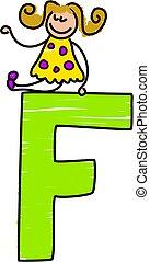 little girl sitting ontop of letter F