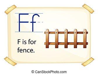 Illustration of a flashcard letter F