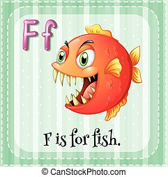 Illustration of a letter F is for fish