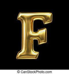 LETTER F in golden metal