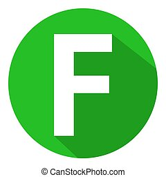 Letter F in green circle on white background. Vector illustration.?